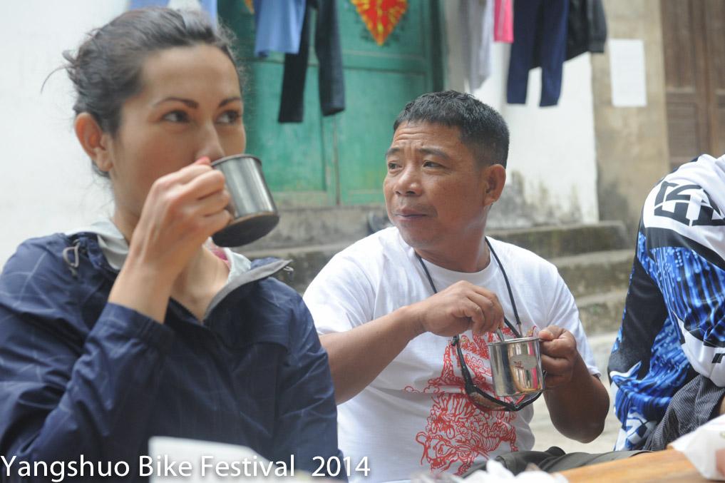 Tang on a coffee break in fuli town