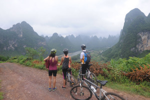 High country ride, looking down on the Li River.