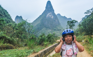 Farmer Tang's first silent disco. A local biking legend, he is the inspiration for the Yangshuo Bike Festival.